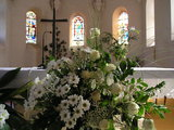 Flowers and Cross inside Siroki Brijeg Church